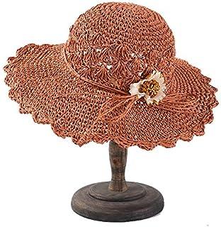 JJXSHLFL Straw hat Summer Female Folding Hand Hook Sun hat Small Fresh Flowers Seaside Holiday Beach hat Sun hat (Color : Orange, Size : Adjustable)