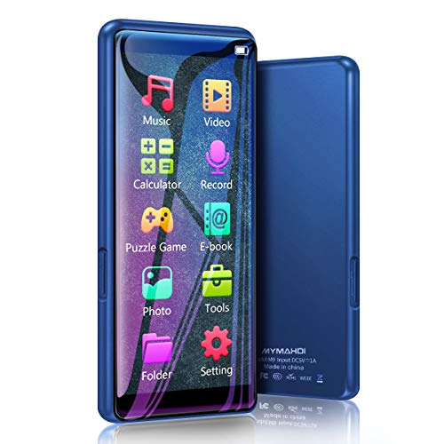 MYMAHDI MP3 Player, High Resolution and Full Touch Screen, 8GB HiFi Lossless Sound Player with FM Radio, Voice Recorder, Supports up to 128GB, Blue