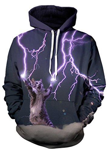 Beloved Shirts Lightning Cat Hoodie - Premium All Over Print Graphic Hoodies