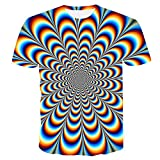 Camiseta de manga corta para hombre, diseño gráfico de ilusión óptica, manga corta, para uso diario