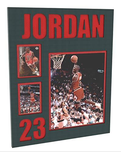 Michael Jordan Photo & Basketball Card Plaque, Chicago Bulls Wall Art 14.5x17.5 V4