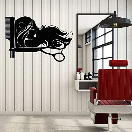 Salon de coiffure Logo Salon Sticker cheveux coiffure ciseaux coupe peigne intérieur Art papier vinyle autocollants42x63 cm