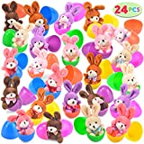 """24 PCs Filled Easter Eggs with Plush Bunny, 3.2"""" Bright Colorful Easter Eggs Prefilled with Variety 4.5"""" Plush Bunnies"""