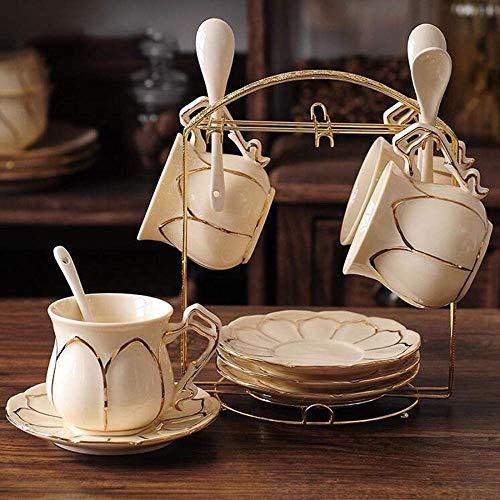 Tcbz Juego de 4 Tazas de café expreso en Relieve en Oro Vintage Continental Juego de té de cerámica para el hogar con Soporte 220 ml