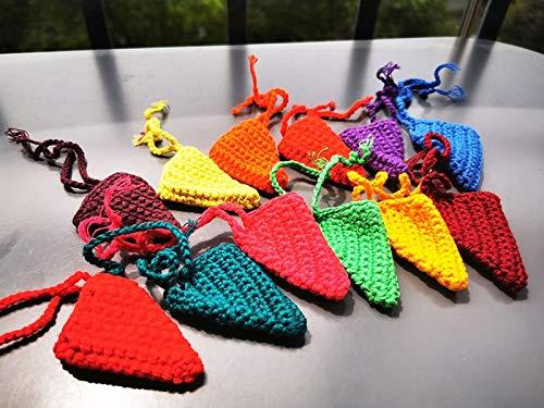 JKMQA 6/12 unids Crochet Muñecas de Arco Iris de Madera en Fories para Bloques Pastel Apilables Muñecas Naturales de Madera en Hat Montessori Toy (Color : Rainbow Hat 12)