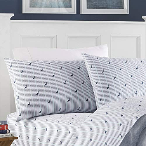 Nautica | Percale Collection | Bed Sheet Set - 100% Cotton, Crisp & Cool, Lightweight & Moisture-Wicking Bedding, Twin, Anchor