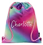 Fringoo Personalised Kids Drawstring Bag with Zipped Pocket PE Bag Swimming Football Gym School Bag for Boys Girls (Pastels)