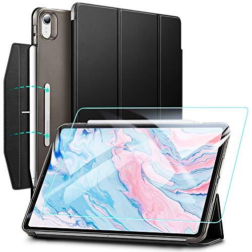 ESR Trifold Hüllen Set für iPad Air 2020 [Enthält Glas Display-Schutzfolie] [Auto Schlaf/Weckfunktion] [Unterstützt Pencil 2 kabelloses Laden], Schwarz.