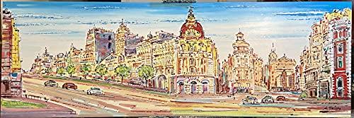 Cuadro de la Gran Vía de Madrid, Original. Lienzo pintado a mano 150x50cm