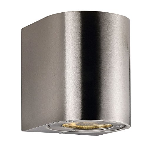 Nordlux LED wandlamp CANTO buitenverlichting, 2x5W LED, 3000K, 2x 350lm, IP44, roestvrij staal EEK: A