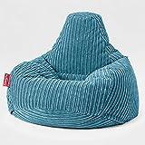 Lounge Pug - Puf Silla Gaming con Escabel - Pana Clásica Egeo Azul - Teardrop - Puff Sillon