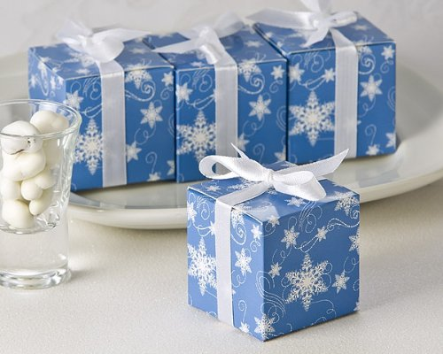 Winter Wishes Snowflake Wedding Favor Box (24 Pack) - Christmas Holiday Party Favor Boxes (Bulk Buy Discount!)
