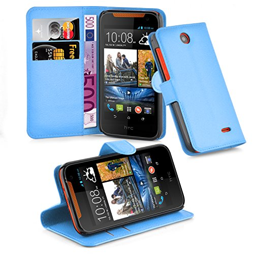 Cadorabo Hülle für HTC Desire 310 - Hülle in Pastel BLAU – Handyhülle mit Kartenfach und Standfunktion - Case Cover Schutzhülle Etui Tasche Book Klapp Style