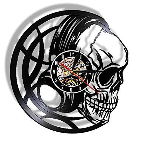 AXEF Evil Skull Headphones Vinyl Record Reloj de Pared Black Skull Head Watch Dark Art Decor Reloj de Cuarzo 7 Colores luz Regalo para Hombres 30cm