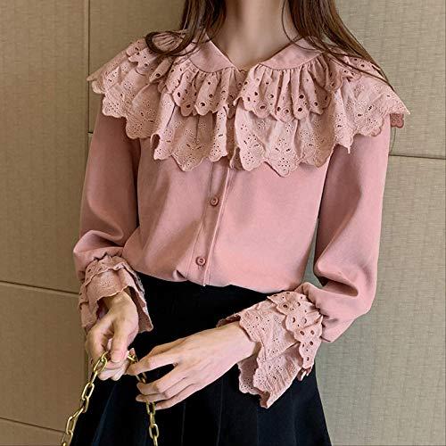DAIDAIWLH Suéteres Sólidos Camisa De Mujer Blusa De Gasa De Manga Larga Cuello En V Top De Oficina Suéter Informal Holgado