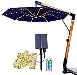 2021 nuevas luces de sombrilla de patio, con cadena solar, 104 luces LED de 8 modos, impermeables, con control remoto para paraguas de patio, tiendas de campaña (luz cálida)