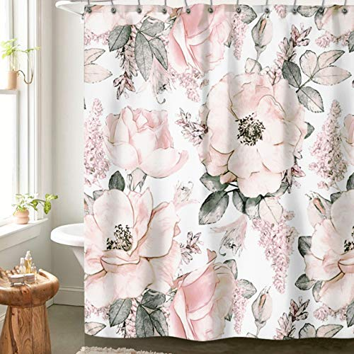 """Pink Flower Shower Curtains for Bathroom, Cute Blush and Grey Fabric Floral Shower Curtain, with 12 Hooks 72""""x72"""""""