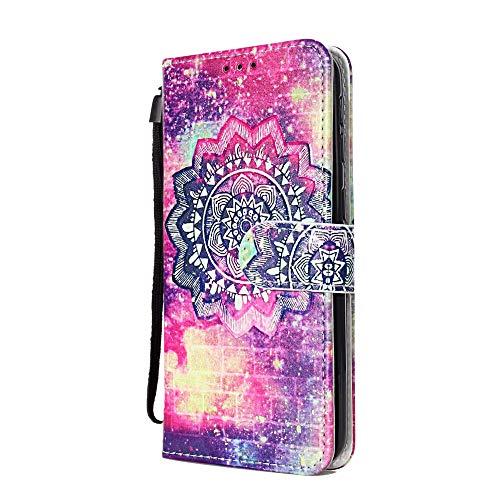 Funda Libro para Samsung Galaxy M20 Carcasa de Cuero PU Premium Flip Wallet Case Cover con Tapa Teléfono Piel Tarjetero - Mandala Estrella