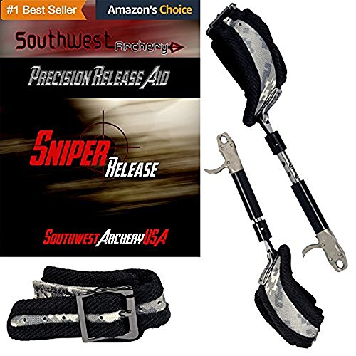 Sniper Adjustable Archery Buckle Release; for Compound Bows, Ambidextrous Adult & Youth Sizes, 360 Swivel with Dual Caliper Head, Adjustable Trigger Tension, Tools Included: Adult Camo