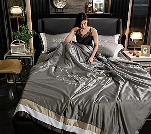 Einfach bestickt vier Stück Tiansi Sommerquilt, reine Seide Sommerklima dünne Decke, waschbare Sommerquilt 60 * 69 Zoll