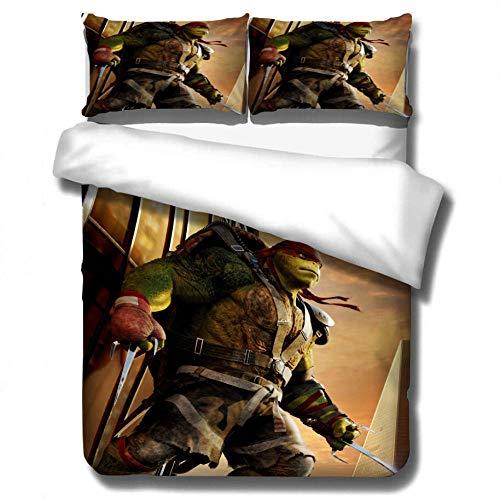 Patrón de ninja de anime de dibujos animados impreso en 3D suave y cómodo, funda nórdica y funda de almohada, adecuado para amigos a los que les gustan las tortugas-segundo_140x210cm (2 piezas)
