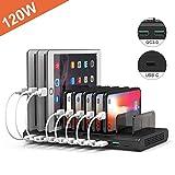 Alxum USB Multi Mobile Ladestation mit QC 3.0 Schnellladung, 120W, Typ C-Handy-Ladestation mit 10 Anschlüssen und abnehmbaren Trennwänden für iPhone/iPad/Samsung Galaxy/Tablets (Schwarz)