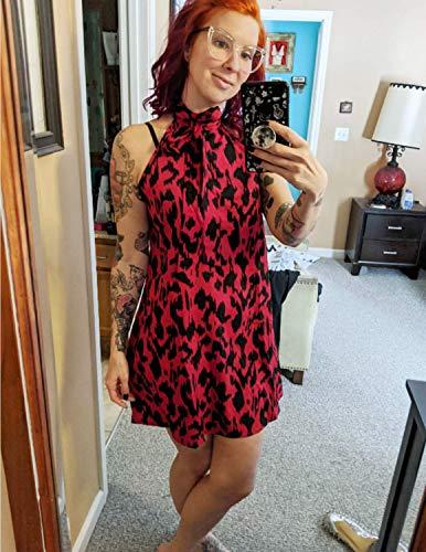 JENJON Vestido Verano Mujer de Leopardo Sin Mangas Mini Abertura Trasera Fiesta de Playa Vacaciones Rojo XXL