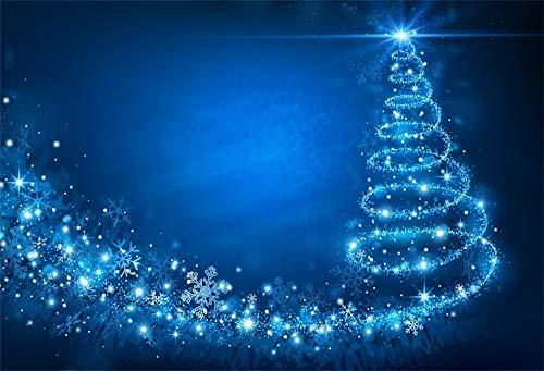 YongFoto 2,2x1,5m Fondo de Fotografia Ãrbol Navidad Abstracto Bobina del Copo Nieve Luces Brillantes Azules Brillos Bokeh Telón de Fondo Photo Booth Infantil Party Banner Niños Photo Studio Pr