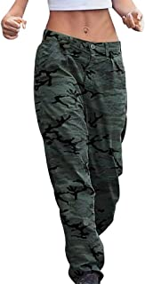 Hyioammb Womens Camouflage Print Joggers Pants with Pockets Plus Size Trousers Vintage Zipper Pocket Pants