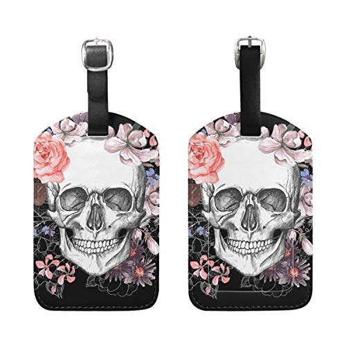 BENNIGIRY Rose Flower Dead Sugar Skull Head Luggage Tag PU Leather Bag Tag Travel Suitcases ID Identifier Baggage Label