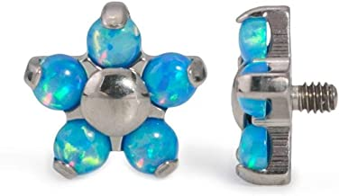 Painful Pleasures 14g-12g Internally Threaded Titanium Flower Top with Five Opal Petals – Price Per 1