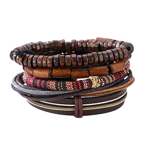 Ahomi Man Europese Hot Retro multilevel rundleer handgemaakte geweven armband