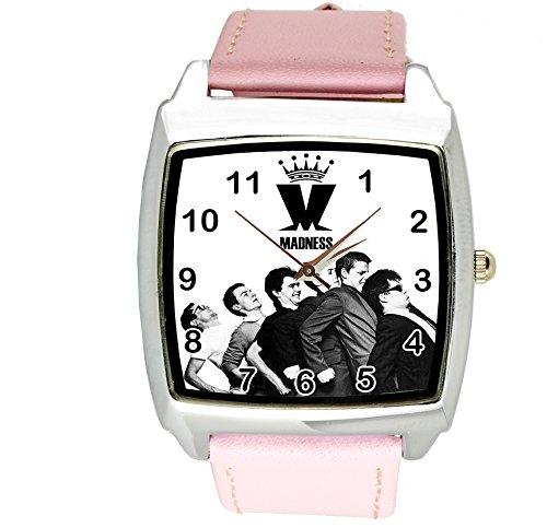 taport® Locura Cuarzo Cuadrado Watch Color Rosa Real Piel Banda + Libre batería de Repuesto + Libre Bolsa de Regalo