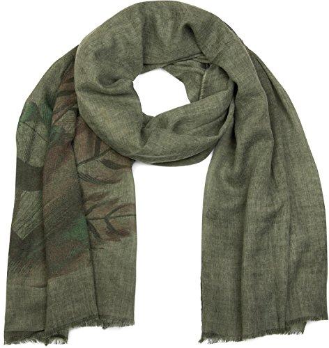 styleBREAKER Schal mit Feder Print im Boho Style, Fransen Tuch, Damen 01017066, Farbe:Oliv