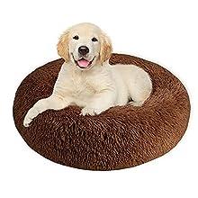 SlowTon Pet Calming Bed, Donut Cuddler Nest Cojín de Gato de Felpa Suave y cálido para Gatos con Esponja acogedora Fondo Antideslizante , Lavable a máquina 15.7in / 19.7in / 23.6in (L, Café)