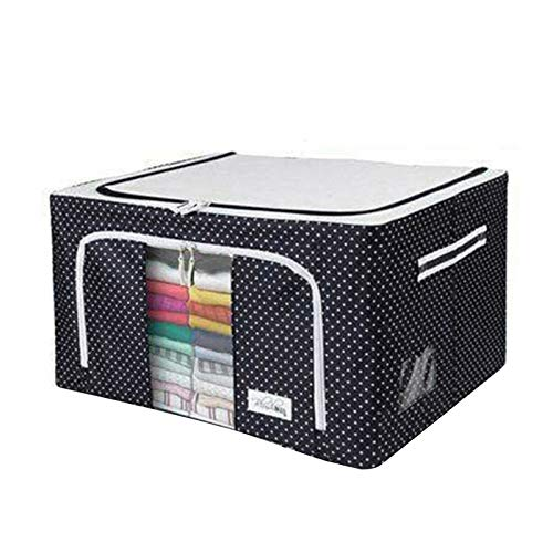 HHYSPA Oxford Waterproof Fabric Storage Box Foldable Clothes Storage Bags with Steel Frame and Strong Double Zipper for Clothes Bed Sheets Blankets Home,66L,Clear Window (Black)