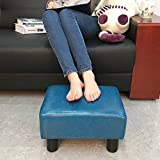 Scriptract Footstool Footrest PU Leather Modern Seat Chair Small Ottoman Stool (Teal)
