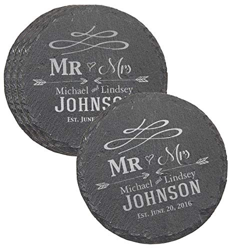 Custom Engraved Wedding Coaster Gift Set for Couples - Set of 4 Drink Coasters for Wedding Favors, Engagement Gift, Mr and Mrs Newlyweds - CSL31