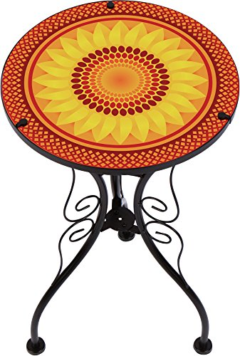 "Trademark Innovations 22"" Sunflower Design Glass & Metal Side Table"