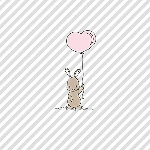 20 Servietten Kleiner Hase mit Herzballon als Tischdeko oder zum Basteln mit Decoupage 33x33cm