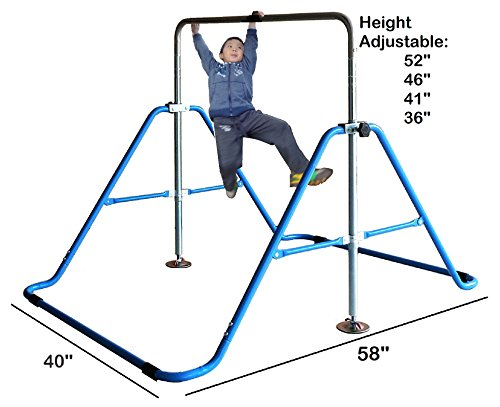 Kids Jungle Gymnastics Expandable Junior Training Monkey Bars Climbing Tower Child Play Training Gym Blue