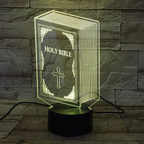 Luz de noche 3D Cruz de jesus lámpara de ilusión LED lámpara de noc