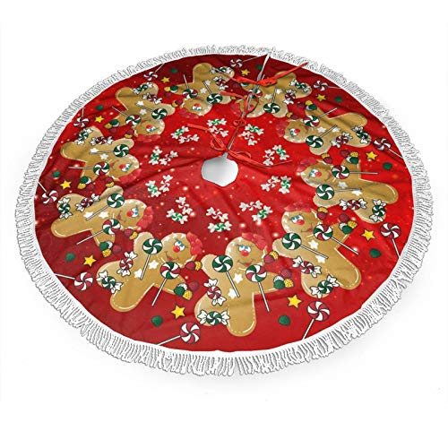 FREEHOTU Gingerbread Christmas Sweet Candy Lollipop Christmas Tree Skirt Gorgeous Edge Tassel Lace for 48' Xmas Ornaments Decoration
