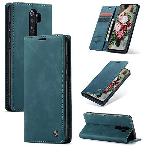 FMPC Compatible Funda para Xiaomi Redmi Note 8 Pro, Libro Caso Soporte Plegable, Ranura para Tarjeta, Cubierta Cierre Magnético Protectora de Billetera Cuero PU Flip Folio Carcasa (Azul Verde)
