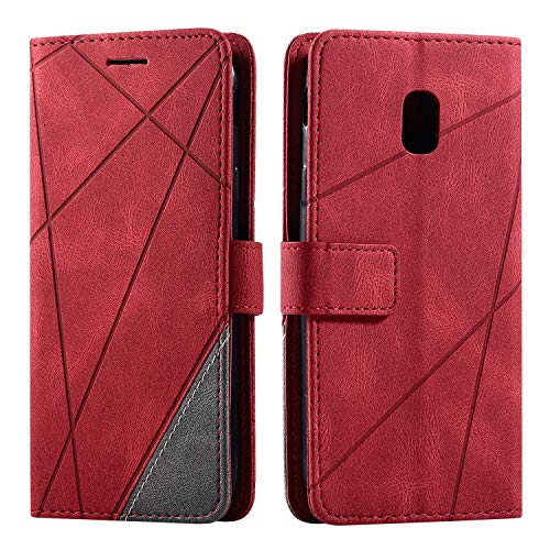 Hülle für Samsung Galaxy J3 2017, SONWO Premium Leder PU Handyhülle Flip Hülle Wallet Silikon Bumper Schutzhülle Klapphülle für Galaxy J3 2017, Rot