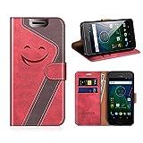 MOBESV Smiley Motorola Moto G5 Hülle Leder, Motorola Moto