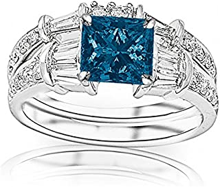 2.33 Carat t.w 14K White Gold Baguette And Round Brilliant Diamond Engagement Ring and Wedding Band Set w/a 1.5 Carat Princess Cut Blue Diamond Heirloom Quality