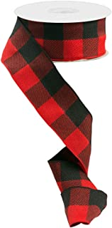 VGOODALL Buffalo Plaid Ribbon Decoration 20 Yards,1.5 Inch Black Red Plaid Ribbon, Decorate Your House,Christmas Wreaths,Staircase and DIY Any Kind of Style You Like