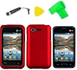 Phone Case Cover Cell Phone Accessory + Extreme Band + Stylus Pen + LCD Screen Protector + Yellow Pry Tool for Straight Talk LG Optimus Fuel L34C (Red)