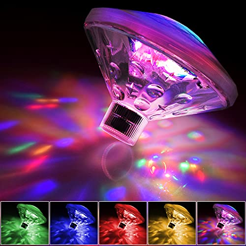 Schwimmende LED-Badewannen-Beleuchtung, Kinder-Badespielzeug, Disco-Partylichter, Teichlichter, Pools, Wasserlampe Mehrfarbige Poollichter mit 7 Beleuchtungsmodi, Wasserdichtes, Batteriebetrieben
